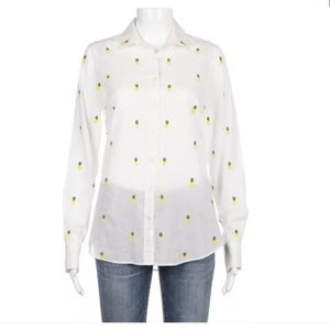 NWT J.Crew white pineapple shirt XS button down